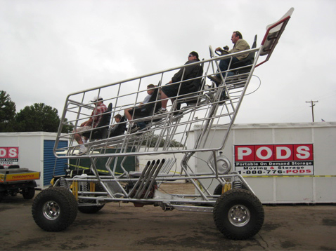giant shopping cart with V-8