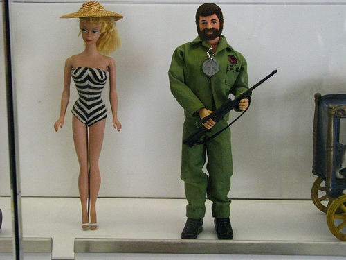 Early versions of Barbie and G.I. Joe.